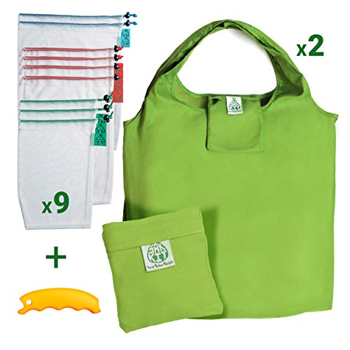 Reusable Produce Bags Grocery Set of 12 PCS | Mesh bags with Tare Weight Tags | Foldable reusable bags and a bonus silicon handle | All the vegetable bags in this kit are made from recycled plastic