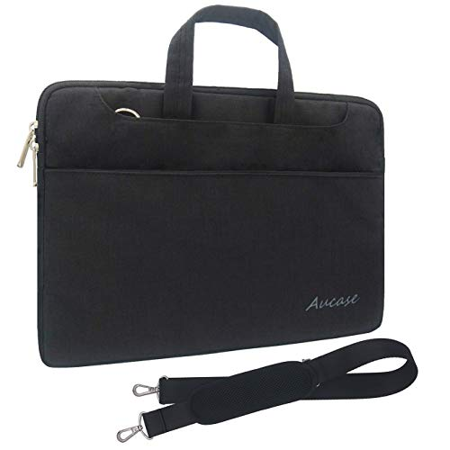 Aucase 15-15.6 Inch Laptop Case, Thickest Lightest Water Resistant Canvas Protective Bag with Handle and Shoulder Strap