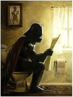 Taking a Sith by Bucket Star Wars Darth Vader Parody 12 Inches x 9 Inches Reproduction Gallery Wrapped Canvas Bathroom Wall Art
