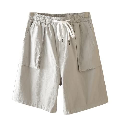 WYCYYWWKYK Pantalones Cortos para Hombre Color sólido Overoles Ocasionales Deportes Cortos Pantalones de Playa(Gris,M)