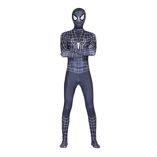 MYYLY Disfraz De Spiderman Blanco Y Negro, Disfraz De Carnaval De Halloween, Traje Clásico De Spider-Man,Lycra con Estampado 3D, Disfraz De Película para Fiesta,Black White-Kids(90~100cm)