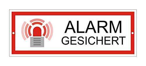 Schild Alarm gesichert | Material Aluminium | wetterfester Mehrfarbdruck | 175 x 65 mm | 2-Fach gelocht | Ofform Original | Nr.53307-L