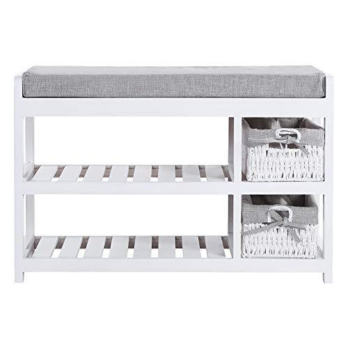 Banco para zapatos, natural, 70 x 28 x 46 cm, cómodo banco para zapatos de 2 capas de madera maciza (blanco)