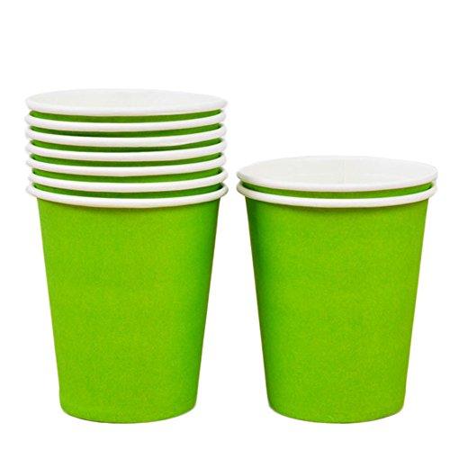 Gespout jetables Tasse de papier de couleur enfants Creative DIY Matériau Lot de 10 vert clair