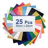 LAOYE 25 Feuilles Film Vinyle Thermocollant Tissu 16 Couleurs Feuille Transfert Textile pour T-Shirt DIY 30 cm x 25 cm