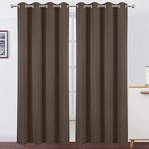 LEMOMO Chocolate Thermal Blackout Curtains/52 x 84 Inch/Set of 2 Panels Room Darkening Curtains for Bedroom