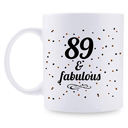 89.o regalo de cumpleaños para hombres tazas - 89 y fabulosa taza de café 1931 decoraciones de cumpleaños - 11 oz 89.o regalo de cumpleaños para papá, él, hermano, mejores amigos, chico, novio, esposo