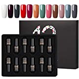 ROSALIND Vernis Semi Permanent Lot Blanc Rouge Couleur Gel UV Ongle Soak Off Gel Nail Polish 12pcs 7ml