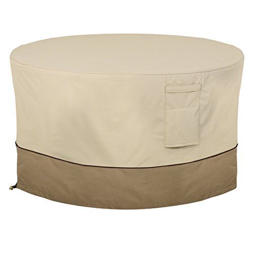Classic Accessories 55-465-011501-00 Veranda Water-Resistant 42 Inch Round Fire Pit Table Cover,Pebble,42-Inch