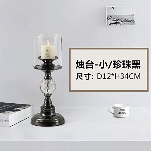 CFLFDC Kandelaar, decoratieve kaarslampen, goudkleurig, voor tafeldecoratie, kantoor, restaurant, kleine kandelaar, zwart