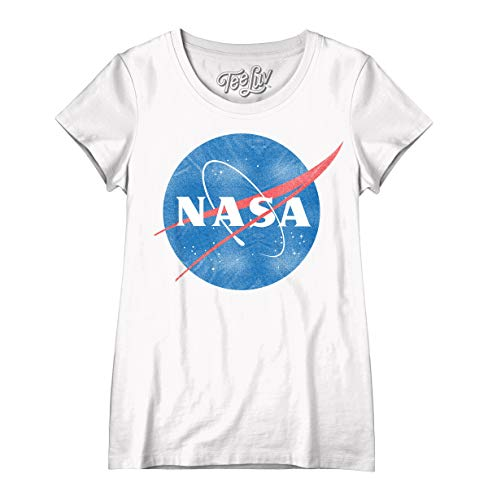 Tee Luv NASA Womens Shirt - Vintage NASA Meatball Logo T-Shirt (X-Large) White