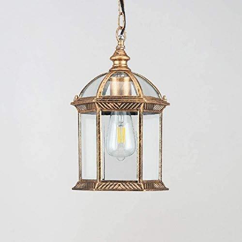 BD.Y Home Lámparas Colgantes de Techo Vintage para Exteriores, luz de Linterna Colgante Impermeable IP65, Pantalla de lámpara Colgante Retro, Luces Exteriores de Aluminio y Vidrio para Patio, Jar