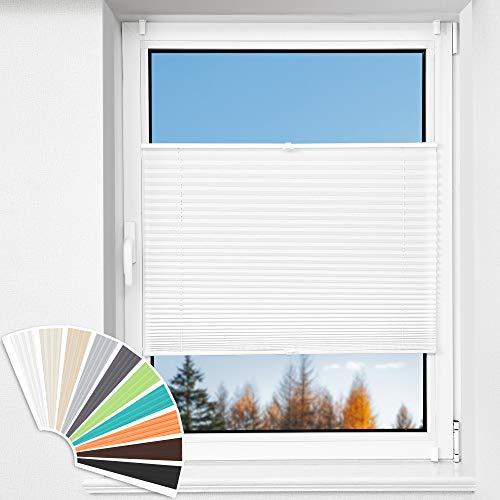 HOMEDEMO Plissee Klemmfix ohne Bohren Jalousien (Weiß, 60x200cm) Plisseerollo Fensterrollo mit Klemmträger, Faltrollo Klemmrollo Sicht-und Sonnenschutz Rollos für Fenster & Tür