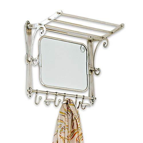 Loberon Garderobe Ernestine, Messing/Spiegelglas, H/B/T ca. 48/50 / 30 cm, Silber