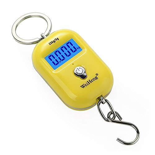 Balanza Alimentos Electrónica conBáscula digital portátil de 25 kg / 55 Mini báscula de equipaje Pantalla LCD Báscula de equipaje de peso electrónico con escala de gancho colgante Amarillo