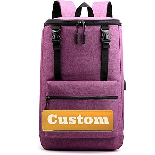 FireH Nome personalizzato Ragazze Borsa imbottita Zaino per computer per laptop per la borsa da donna da 17 pollici USB Zaino grande (Color : Purple, Size : One size)