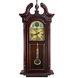 Bedford Clock Collection Grand Antique Colonial Chiming Wall Clock with Roman Numerals in a Cherry Oak Finish, 38 L