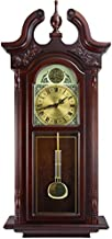 Bedford Clock Collection Grand Antique Colonial Chiming Wall Clock with Roman Numerals in a Cherry Oak Finish, 38