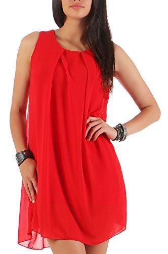 Malito Damen Kleid ärmellos | Elegantes Minikleid | Etuikleid mit Unterkleid | Etuikleid mit Rücken Cut-Out 6877 (rot)