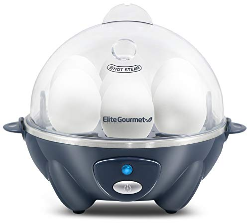 Elite Gourmet Easy Electric 7 Egg Capacity Soft, Medium, Hard-Boiled Cooker Poacher, Scrambled, Omelet Maker with Auto Shut-Off and Buzzer, BPA Free,...
