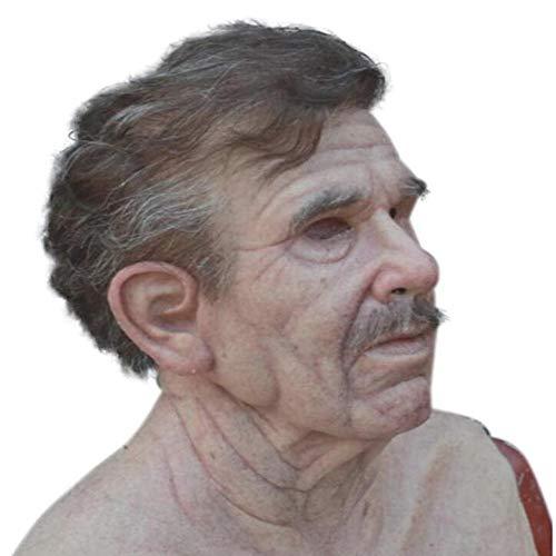 HUA JIE The Elder Man Máscara de Silicona, Realista Anciano, Antiarrugas, látex con Cabeza Halloween para Disfraces decoración Fiestas