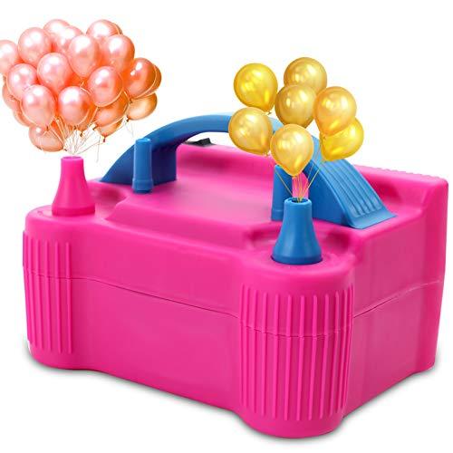 Galapare - Bomba de aire eléctrica, inflador eléctrico portátil de 2 modos, doble boquilla para decoración de fiesta
