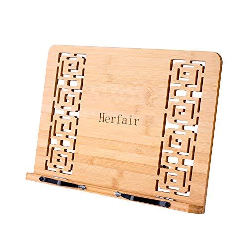 Herfair Bamboo - Supporto per libro regolabile e supporto per libri e libri musicali, tablet Cook Recipe Stands (A)