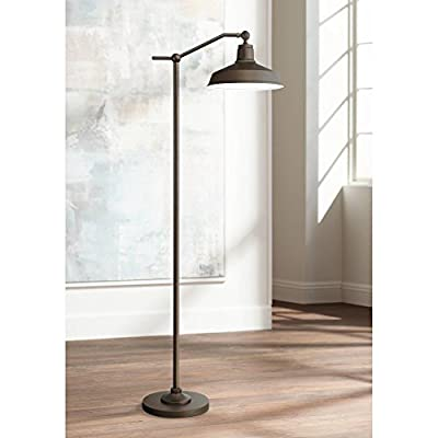 Kayne Modern Downbridge Floor Lamp Satin Bronze Metal Shade Step Switch for Living Room Reading Bedroom Office - 360 Lighting