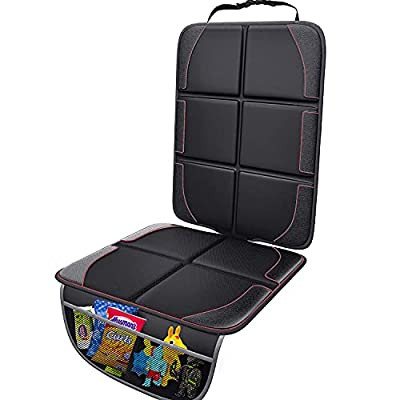 Gimars XL Thickest EPE Cushion Car Seat Protector Mat [1 Pack], Large Waterproof 600D Fabric Child Baby Seat Protector with Storage Pockets for SUV, Sedan, Truck, Leather and Fabric Car Seat by Gimars