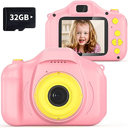 VATENIC Kids Camera Girls Toy Birthday Gift 2 Inch1080P Toddler Camera Portable Toy for 3 4 5 6 7 8 Year Old Video Children Digital Camera for 3-10 Year Old Girl with 32GB SD Card (Pink)