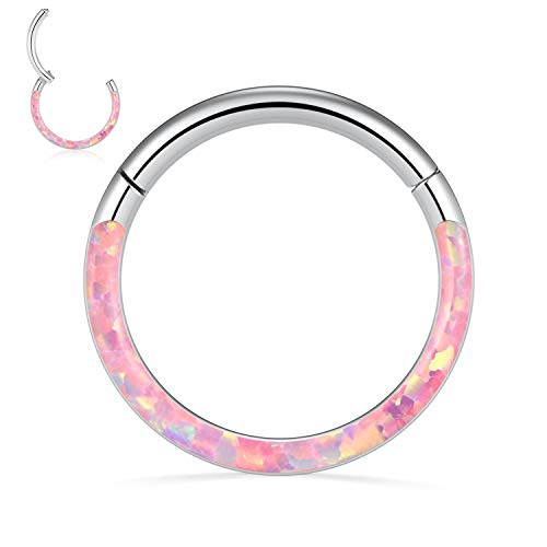 FUNLMO 316L Surgical Steel Daith Earrings Cartilage Septum Jewelry 16G Opal Nose Rings Tragus Hoop Conch Piercing Jewelry 10mm