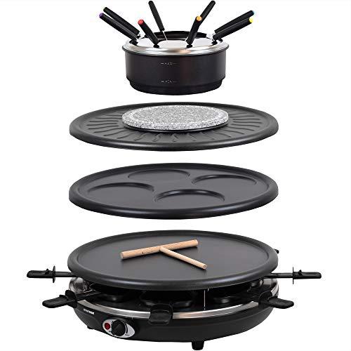 Syntrox Germany RAC-1350WF Waadt 4 in 1 Raclette Grill Fondue Heißer Stein für 8 Personen, Edelstahl Design