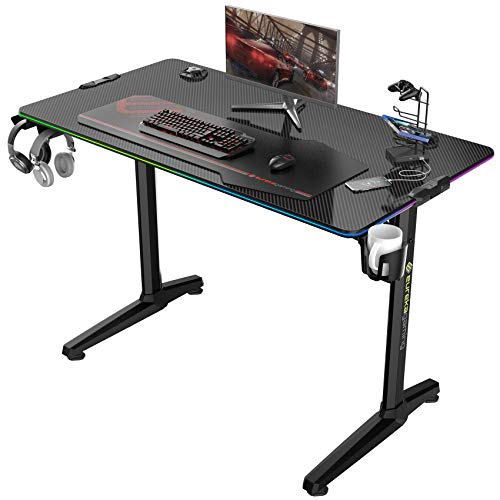 EUREKA ERGONOMIC Gaming Computer Desk 44' Home Office Gaming PC Tables New Polygon Legs Design with RGB LED Lights, Colonel Series GIP-44B, Black