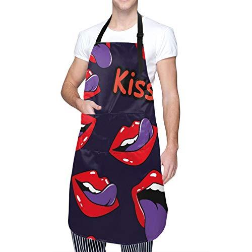 DAHALLAR Ajustable Colgante de Cuello Personalizado Delantal Impermeable,Boca de labios femeninos con un beso, sonrisa, lengua, dientes y letras de beso en,Babero de Cocina Vestido con 2 Bolsillos