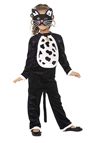 Smiffys Kinder Katzen Kostüm für Mädchen, Bodysuit, Glöckchen und Maske, Größe: S, 35998