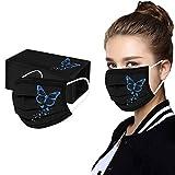 SmallYin Packung mit 10/50 Unisex Stylish Butterfly Print Mask Einweg-Mund- und Nasenschutz für Erwachsene, Mundschutz, Staubschutz, Bandana Women Male Face Cover und Nasenschutz-Halstuch