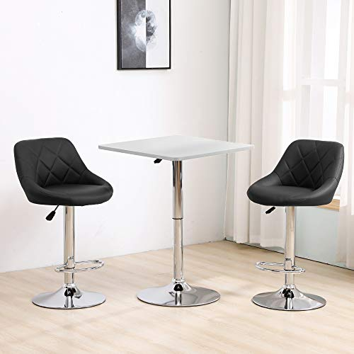 Ansley&HosHo-EU Set of 3 Bar Set Bistro Set, Height Adjustable Square Bar Table with 2 Bar Stools, White Bar Table Black Faux Leather Swivel Barstool Chairs with Chrome Base for Kitchen Pub Breakfast