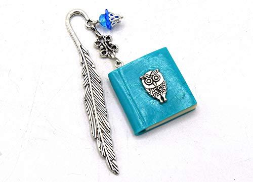 ETHNISCHERVATER - Lesezeichen phosphoreszierende Eule Buch, EDVIGE, Silber Metall Lesezeichen, Eule blau Miniatur Buch, Fimo, Lesezeichen