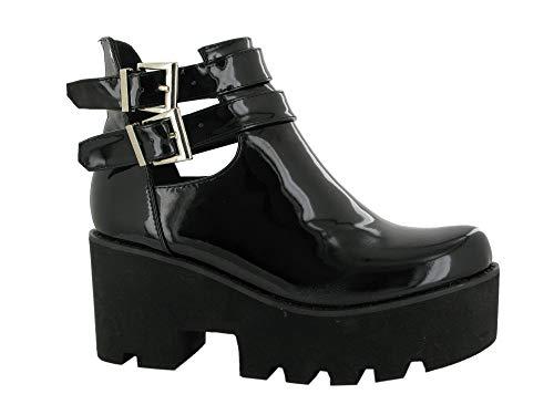 Chelsea Stiefelette für Damen, mit Schnalle, Keilabsatz, griffige Sohle, Schwarz - schwarzer lack - Größe: 37 EU