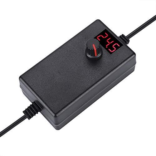 Tonysa Adaptador de Corriente 24W 9-24V/ COMN LED Pantalla Digital/Voltaje Ajustable Adaptador de Corriente/Regulable EE. UU./ EU Plug 100-240V(EU)
