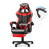 Soontrans Ergonomic Gaming Chair,High Back Computer Gaming Chair,Video Gaming Chair with Height and Backrest Recline Adjustable,Full Armrest,Headrest and Lumbar Pillow Support (Red)