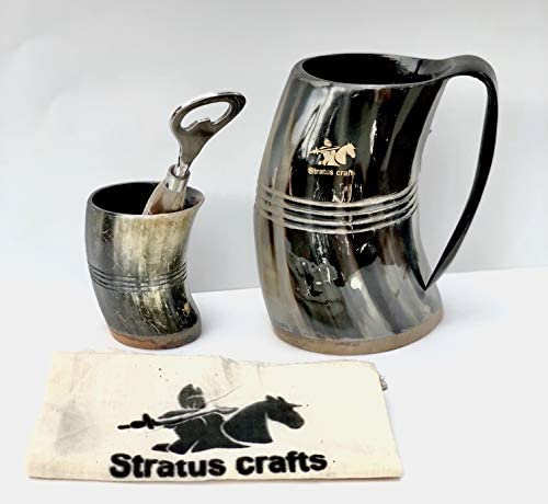 stratuscrafts Viking Drinking Ox Horn Authentic Medieval Tankard Horn Mug for Coffee Tea Wine product image
