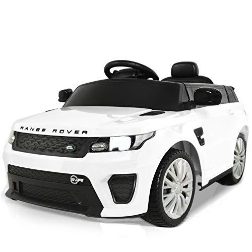 Uenjoy Voiture électrique pour Enfants Land Rover Véhicules motorisés avec télécommande, Alimentation par Batterie, Lumières LED, Musique,Orateur , Blanc