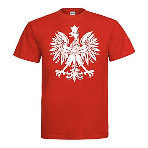 MDMA T-Shirt Polska Adler Fahne Wappen N14-mdma-t00662-42 Textil red/Motiv Weiss Gr. M