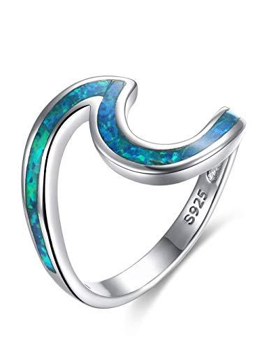 Presentski Blue Opal Ring, Ocean Wave Ring Hecho de Plata de Ley 925