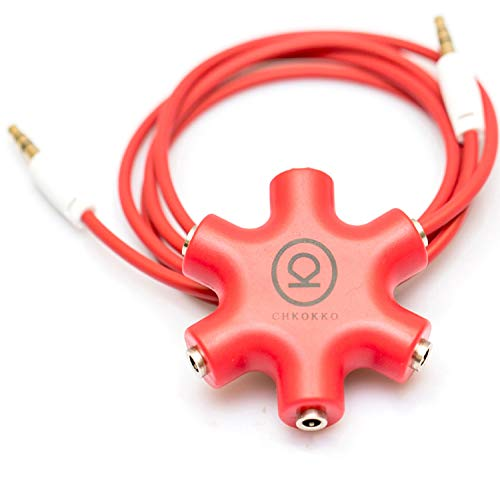 CHKOKKO 3.5 mm 5 Way Jack Stereo Audio Headset Headphone Earphone Hub Splitter Connector Adapter, RED