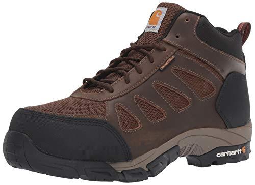 Carhartt Men's Lightweight Wtrprf Mid-Height Work Hiker Carbon Nano Safety Toe CMH4480 Industrial Boot, dark brown leather/nylon, 9 M US