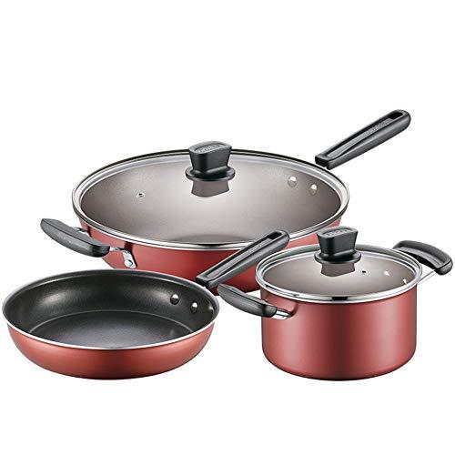 ROYWY Juego de 3 Ollas - Batería de cocina de cromo y Utensilios de cocina de aluminio, incluye tapas de cristal,Mango cómodo,Puede usarse para una variedad de fuentes de calor sarten pequ