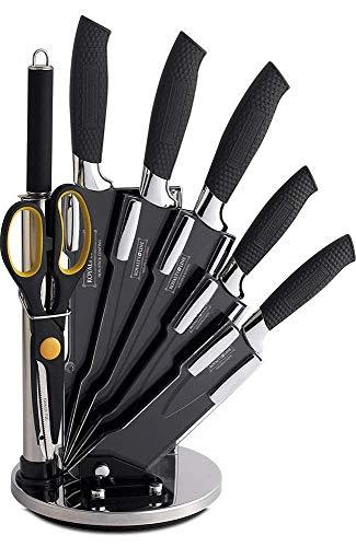 Royalty Line - Juego de cuchillos de 8 piezas con expositor de acero,...