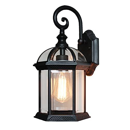 YUEBAOBEI Lámpara De Pared para Exteriores, Metal Y Cristal, Casquillo Gordo E27, Bombilla No Incluida, Diseñado para Jardines Y Patios